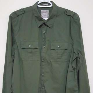 Military Green Guess Dress Shirt Size Medium