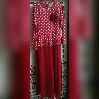 Gamis Peplum Red Fit To XL