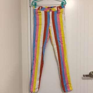 MOTEL ROCKS Rainbow Stripy Skinny Jeans