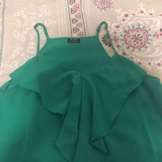 Bardot Gem Green Satin Ruffle Detail Top
