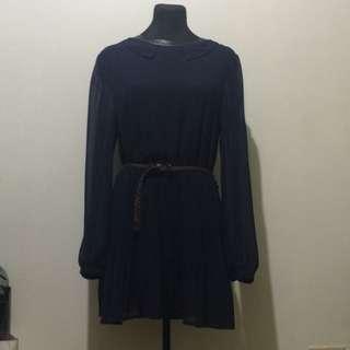 Korean Navy Blue Chiffon Dress With Baby Collars