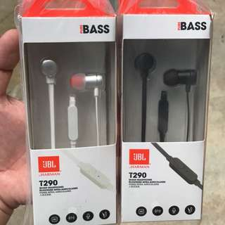 JBL T290 In-EAR Earpiece Earphone With Extra Bass Function High Quality