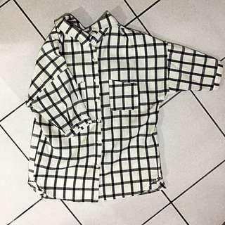 格紋短袖襯衫