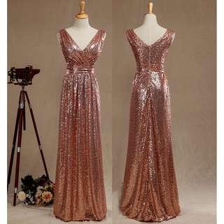 Rose Gold Sequin Sleeveless Gown V Neckline Zipper Back - Long Prom/ Bridesmaid Dress - MS004