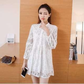 韓大碼時尚-立領蕾絲鉤花鏤空釘珠收腰洋裝-白色 XL