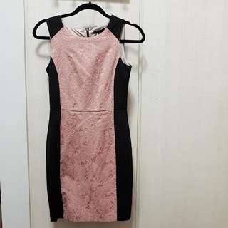Work Dress In Pink/black With Embossed Design