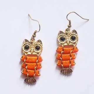 Orange Owl Boho Earrings