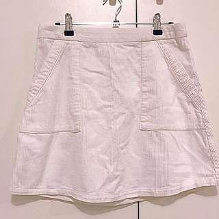 Glassons White Corduroy Mini Skirt