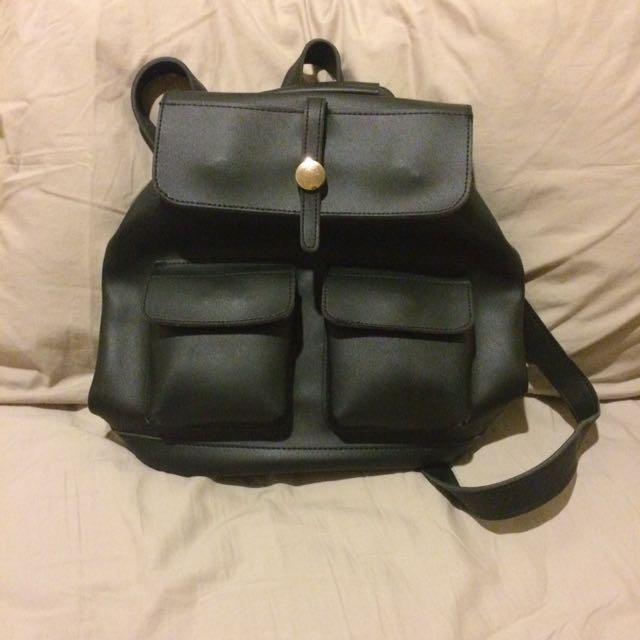 2in1 BLACK SHOULDER BAG & BACKPACK