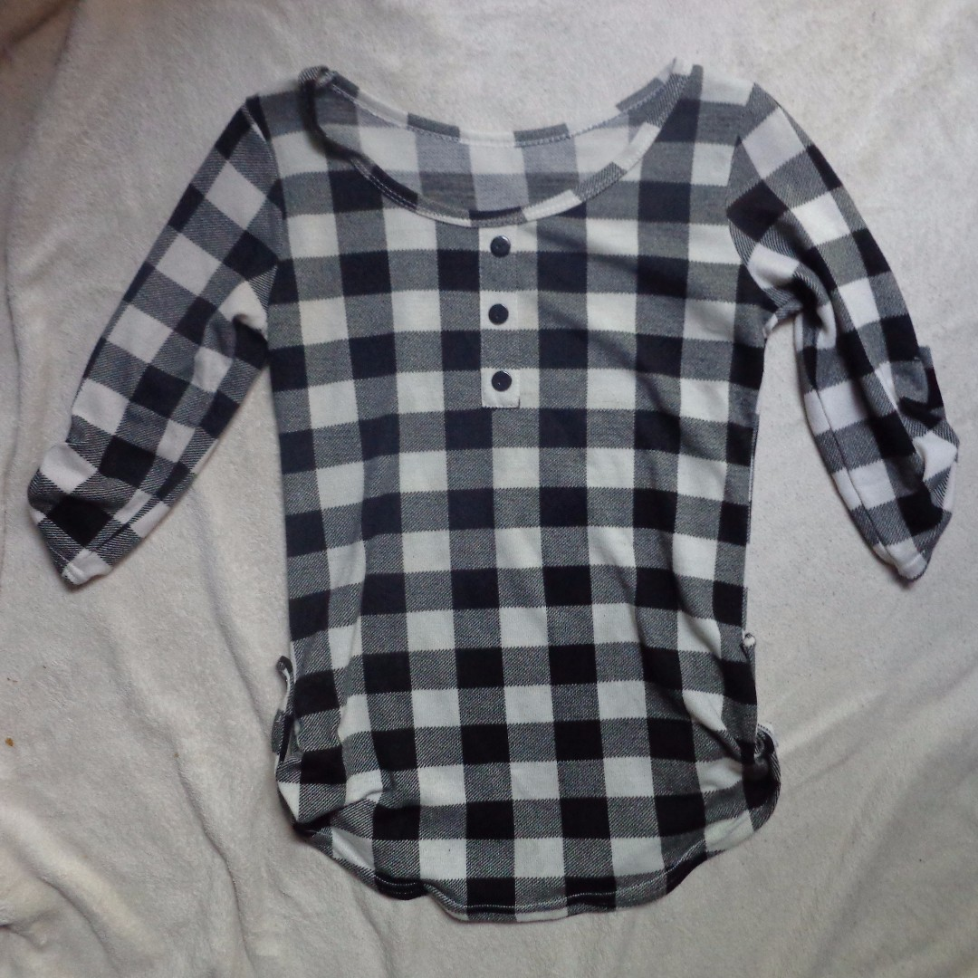 3/4 Sleeve Checkered Blouse
