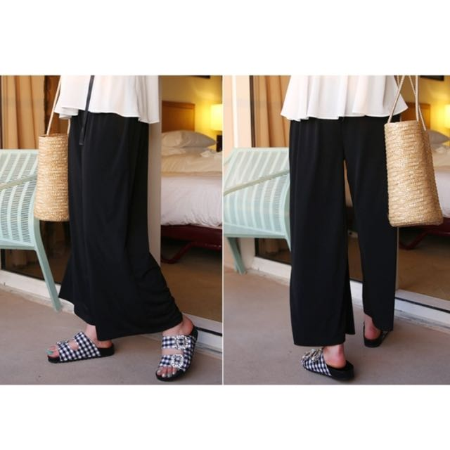 66girls KOREA LONG LOOSE BLACK PANTS