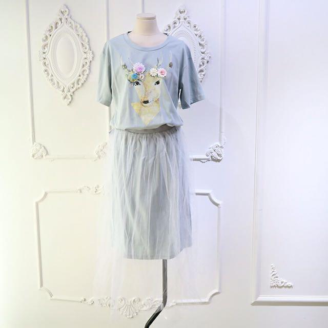 小鹿清新藍/粉兩色鬆緊腰洋裝