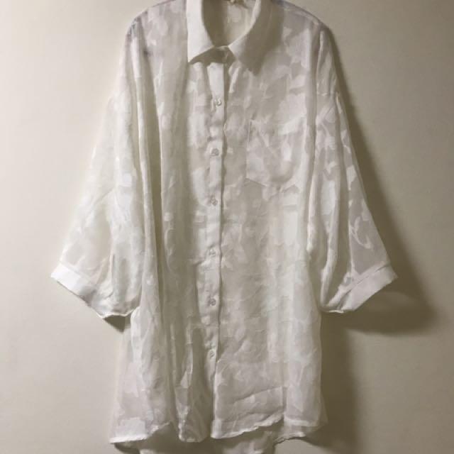 韓版透膚長版罩衫