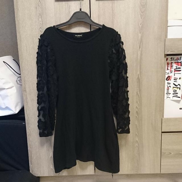 韓國棉質蕾絲袖洋裝