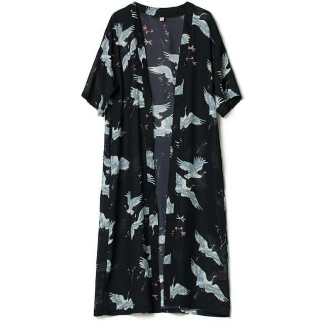 鶴印花紗質透視衫