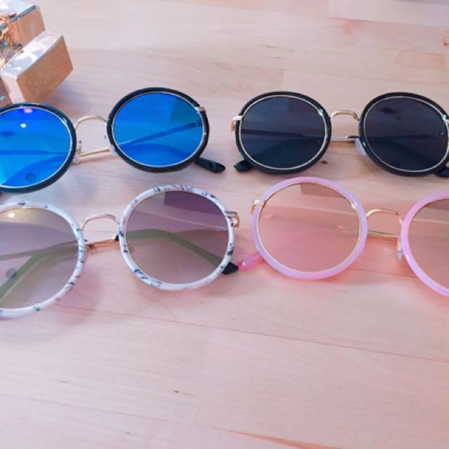 復古反光太陽眼鏡(黑框白水銀)#太陽眼鏡出清