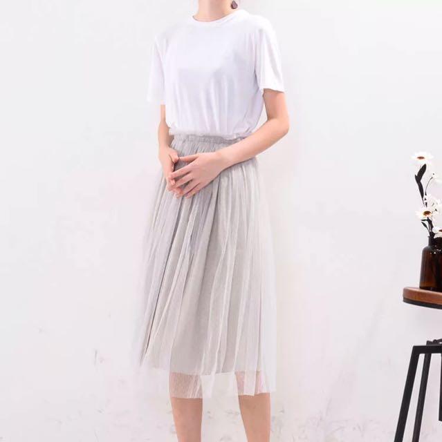木耳鬆緊腰雙層紗裙 杏色/灰色兩色可選