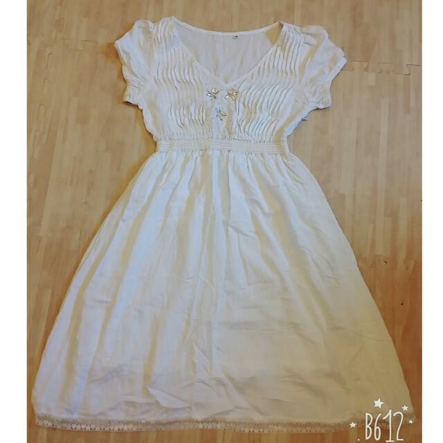 古着 白色水晶長裙