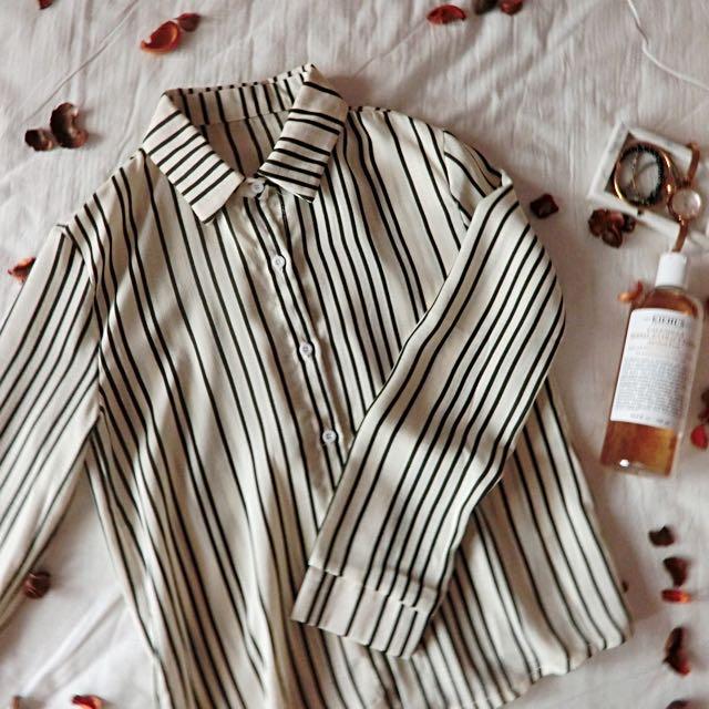 🛫韓版 直條襯衫