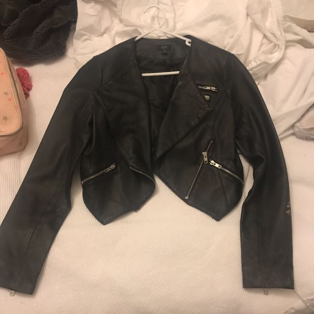Anise Size 10 Crop Leather Jacket