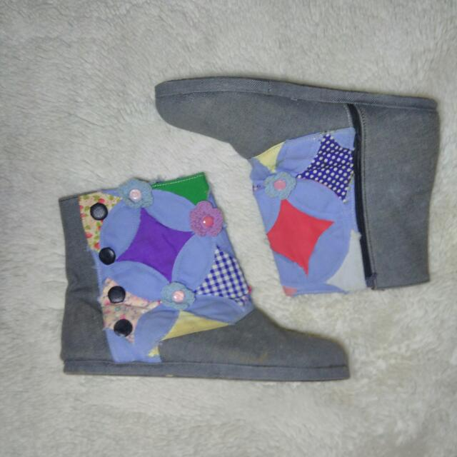 ANKLE BOOTS SHOES QUILTING WITH CROCHET/Rajut