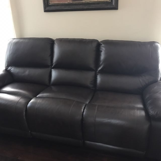 Auto Recliner Leather Sofa X 2