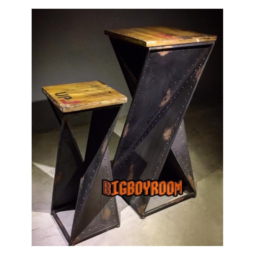 【BIgBoyRoom】工業風家具 實木鐵製玄關桌 高腳桌LOFT美式復古桌子餐桌 陳列桌攝影道具 酒吧餐廳飯店大廳民宿