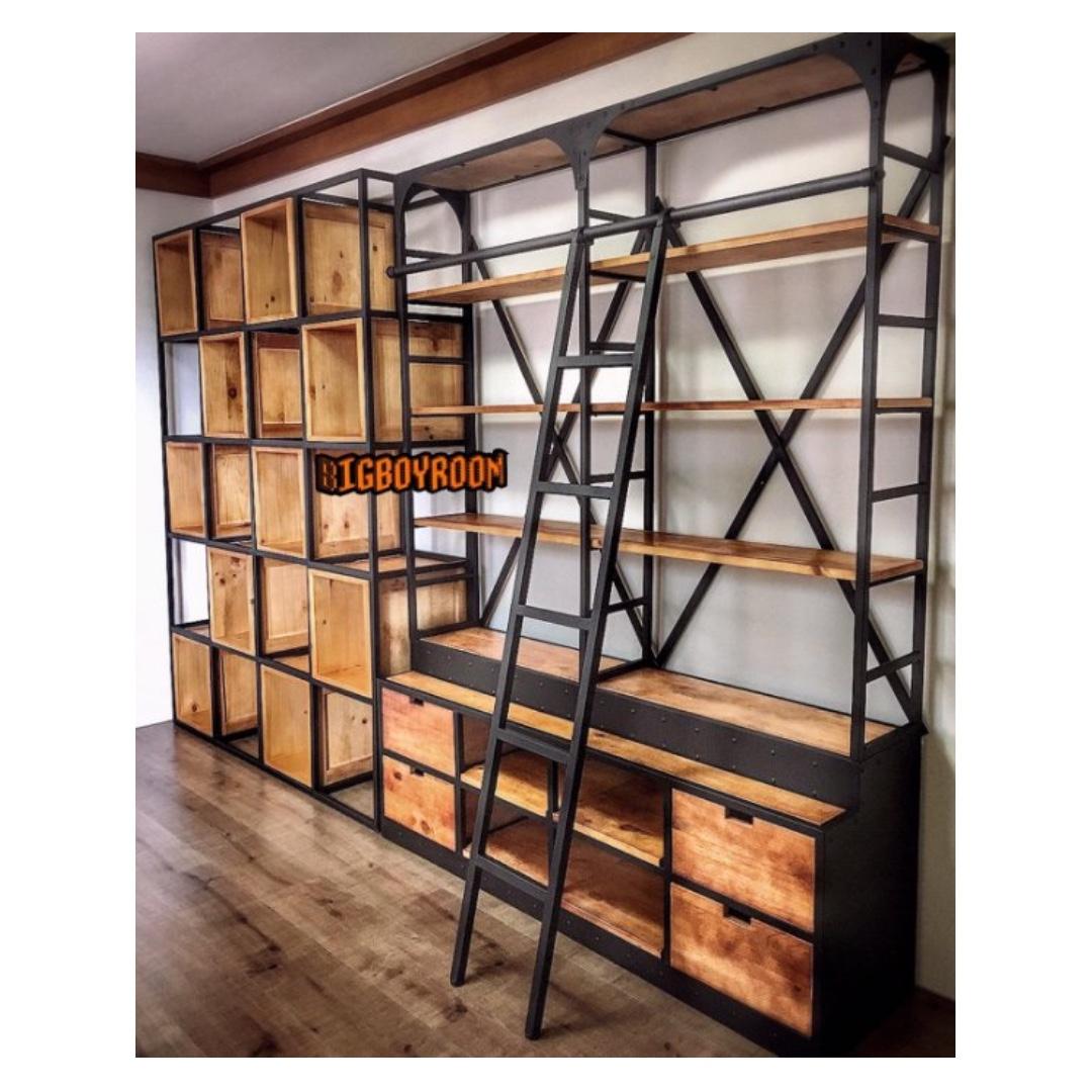 【BIgBoyRoom】工業風家具 鐵製置物架 LOFT實木美式復古展示架 置物櫃收納櫃 酒吧民宿餐廳客製化 隔間牆屏風