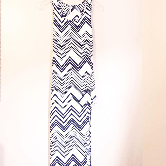 Black & White High Slit Sleeveless Dress