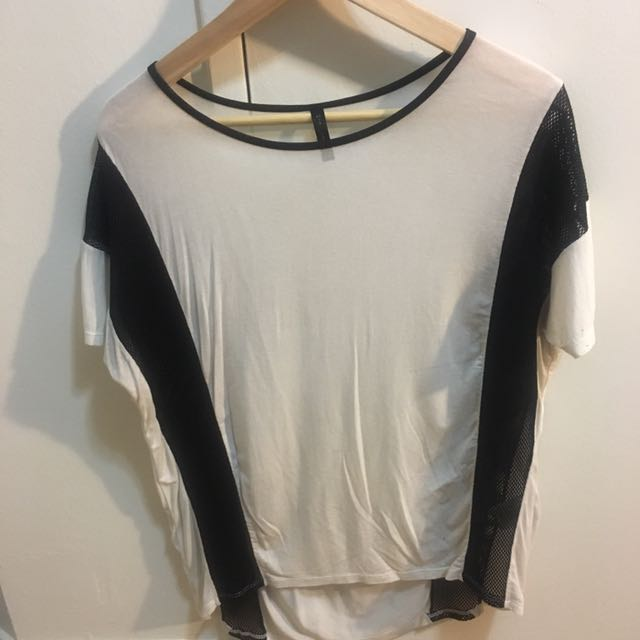 Black And White Mesh Top