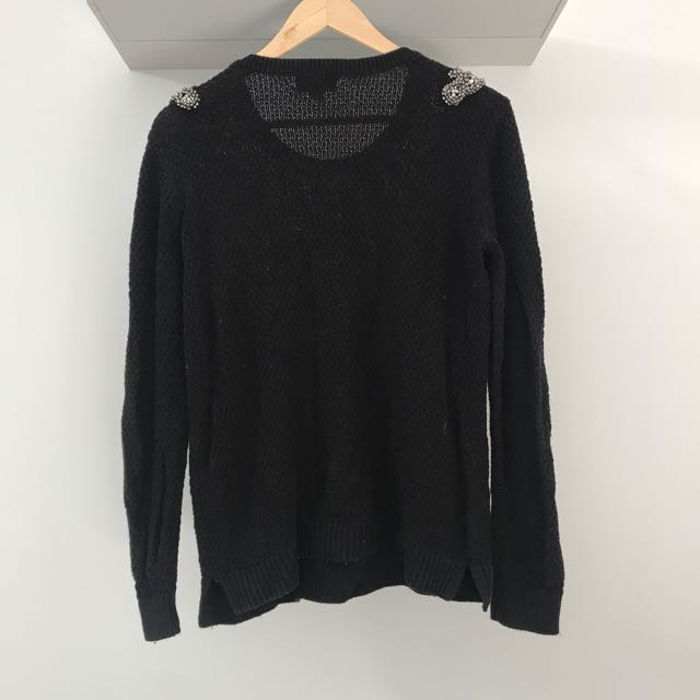 Black Beautiful Beaded Knit Jumper Size XS