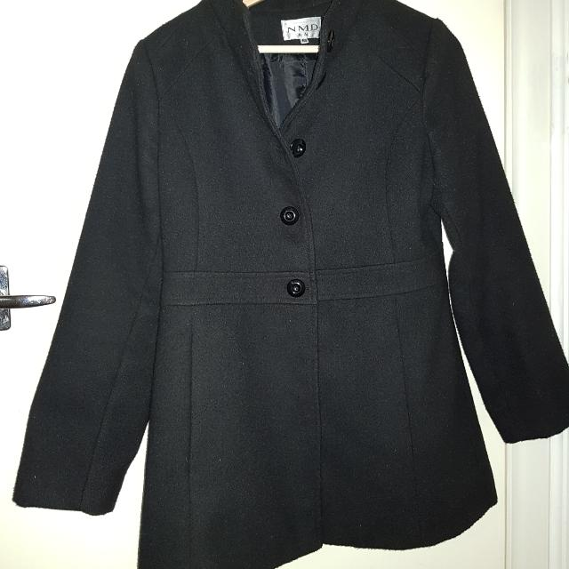 Black Warm Coat Buttoned