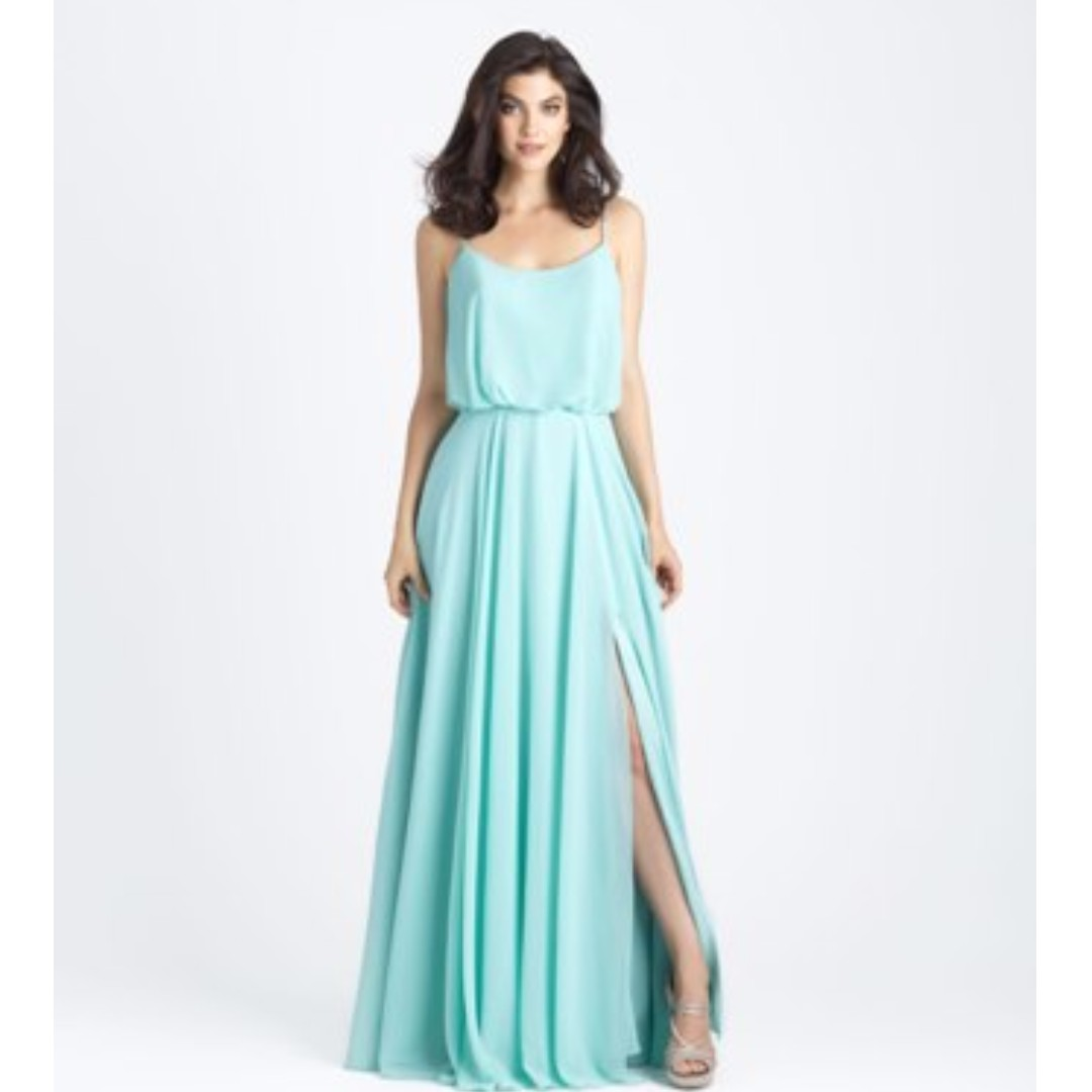 Blue Spaghetti Straps Elastic Waist Side Split Low Back Maxi Bohemian Chiffon Bridesmaid Dress - Custom Colour - LG002