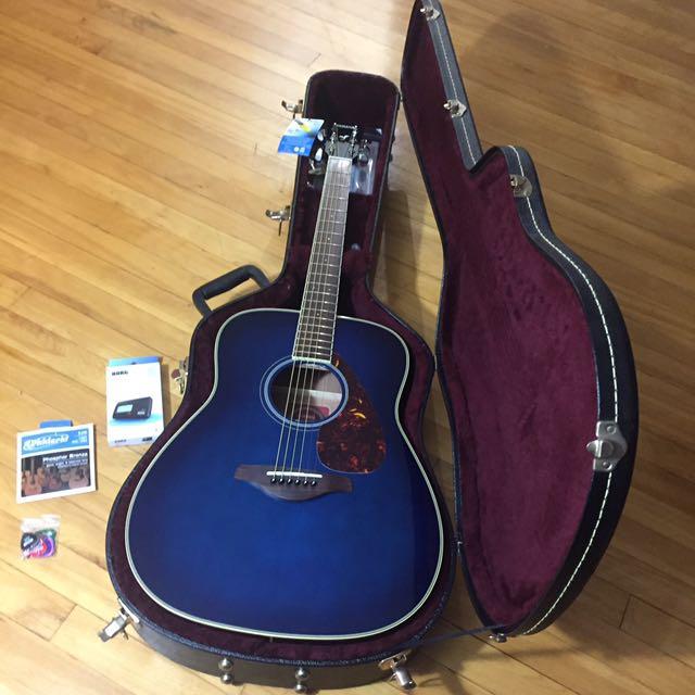 Blue Yamaha Acoustic Guitar Bundle
