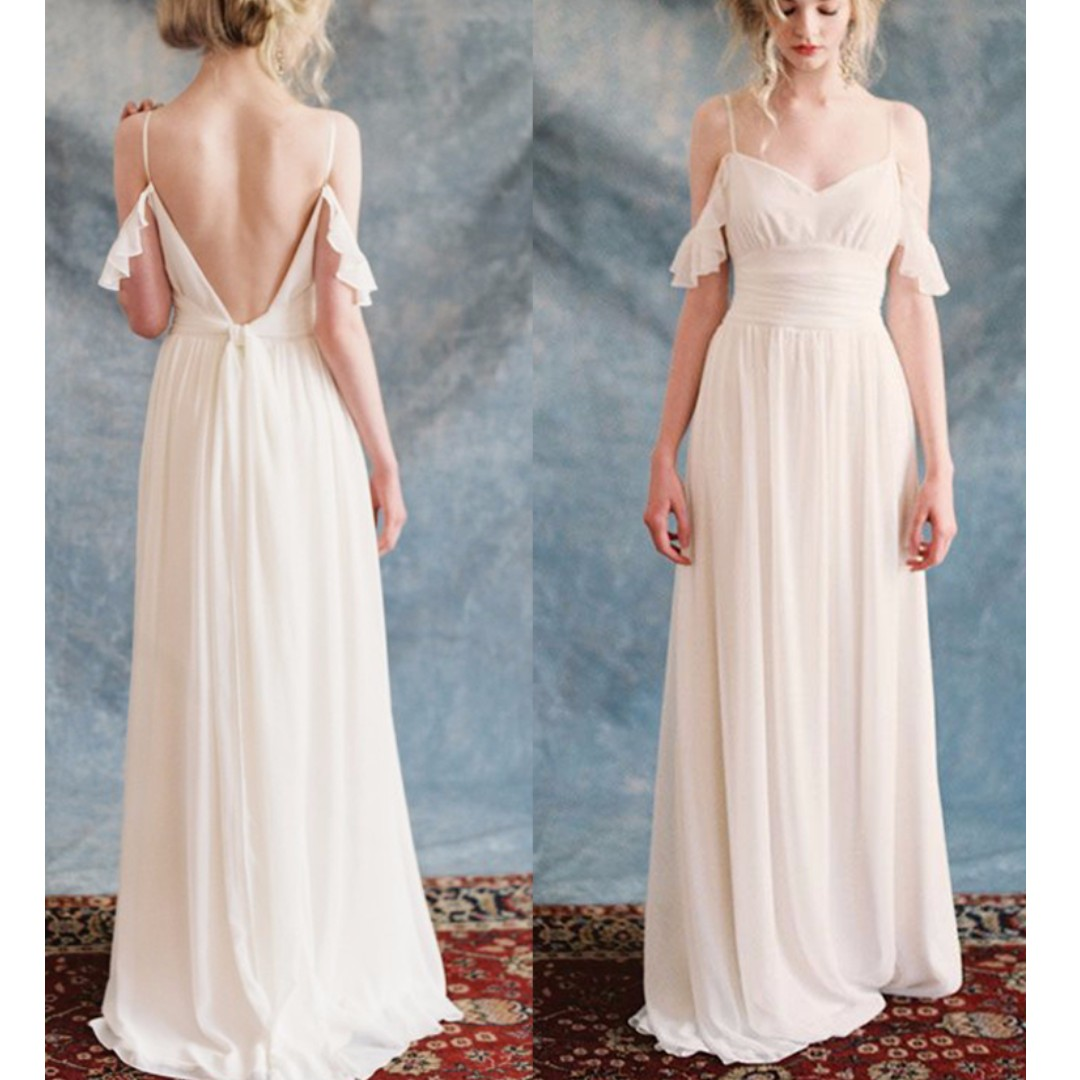 Boho Drop off Wedding Dress with Open Back