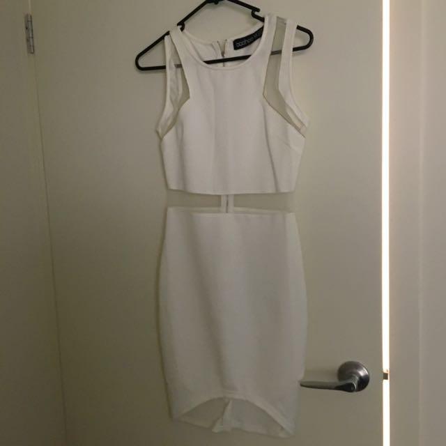 Boohoo Bodycon White Dress Size 8