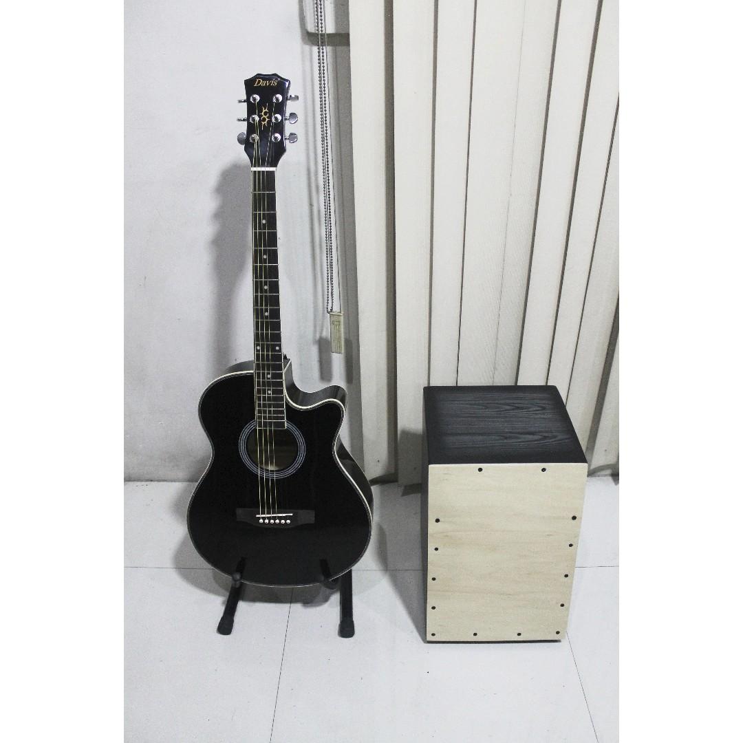 Brand New Acoustic Guitar w/ Cajon and Freebies