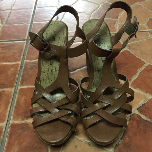 Brown Strappy Wedge Sandals