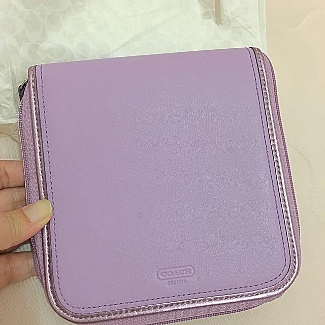 絶版品-Coach 真皮粉紫色CD/DVD 收納盒 (保證真品)珍藏多年