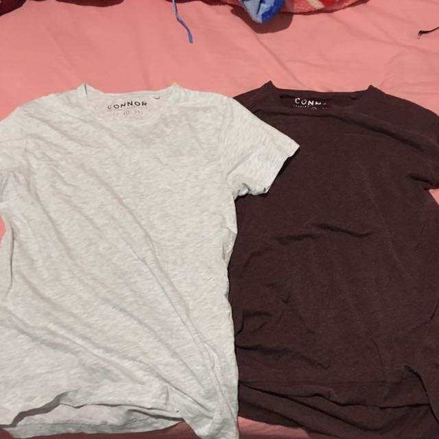 Connor Round Neck Tees- Burgundy And Ash Both Size S