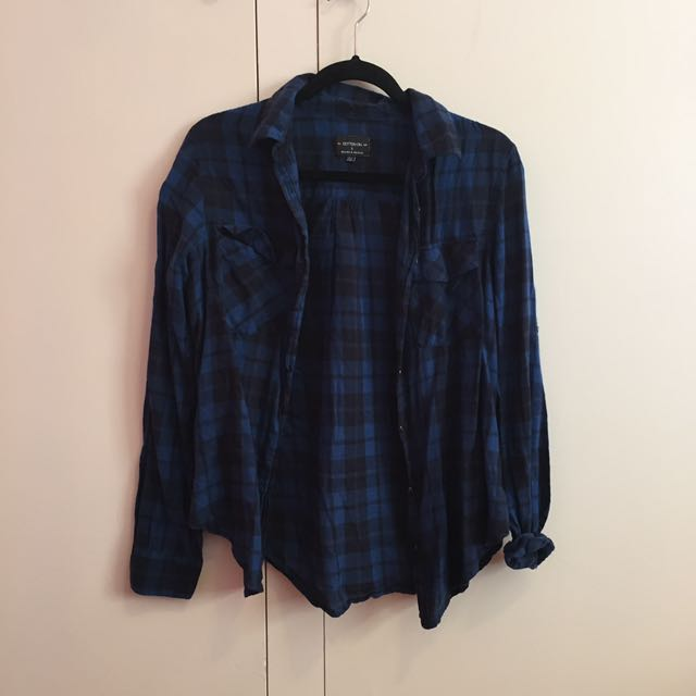 Cotton On Navy Blue Checkered Button Shirt