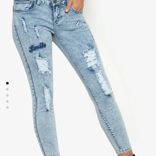 CRISSA RIPPED DENIM WITH EMBROIDERY