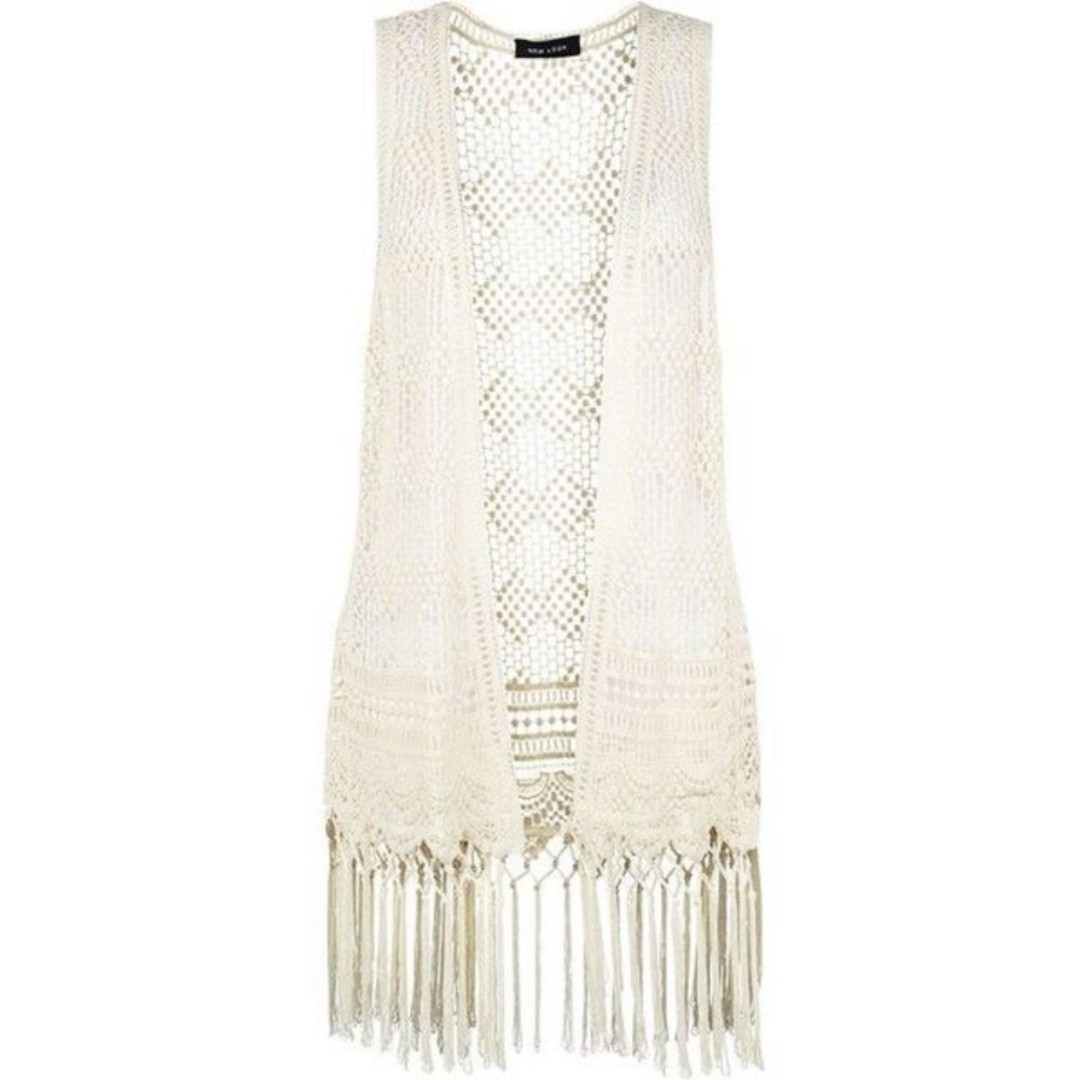 Crochet Fringed Sleeveless Cardigan