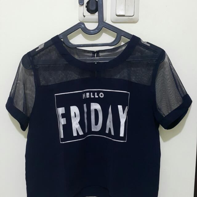 Crop Top Blue - Hello Friday
