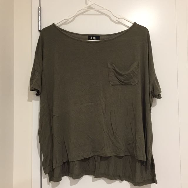 DOTTI Khaki Crop Top