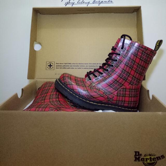 Dr. Martens Red Stewart Tartan Drench Boots