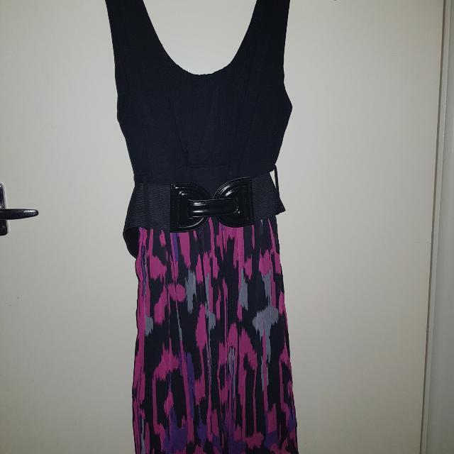 Dress With Black Belt Pink Grey Print