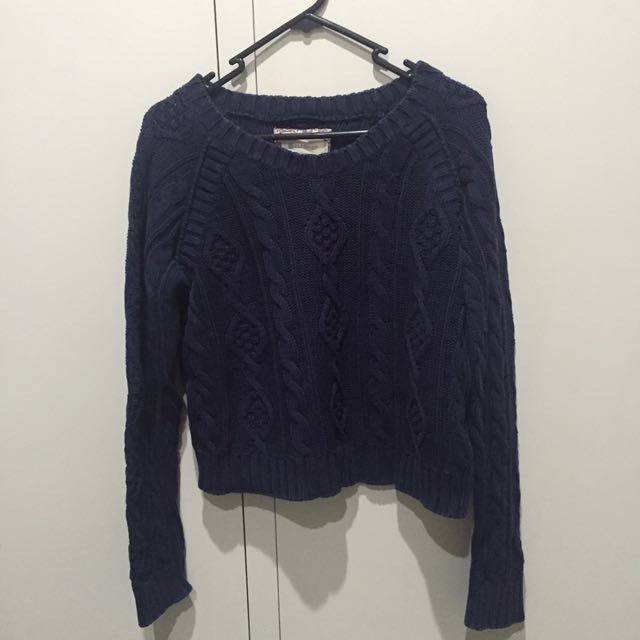 ELEMENT NAVY CROP KNIT SWEATER SIZE MEDIUM