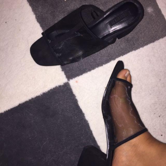 FOREVER 21 XXI - Mesh Mule Sandals Heels Size 8 Black