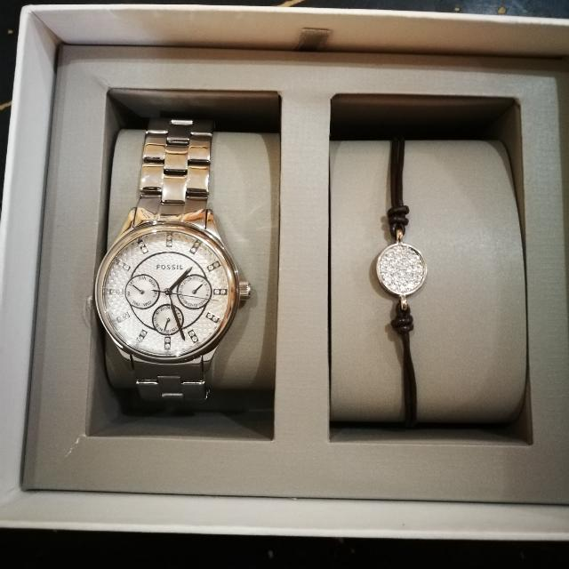 Fossil Ladies Chronograph Set (Silver Tone)